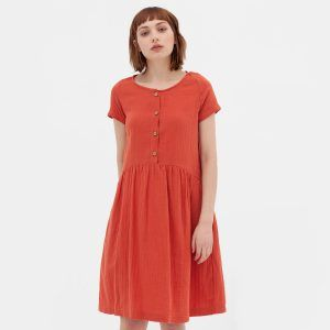 Vestido manga corta color teja de algodón orgánico