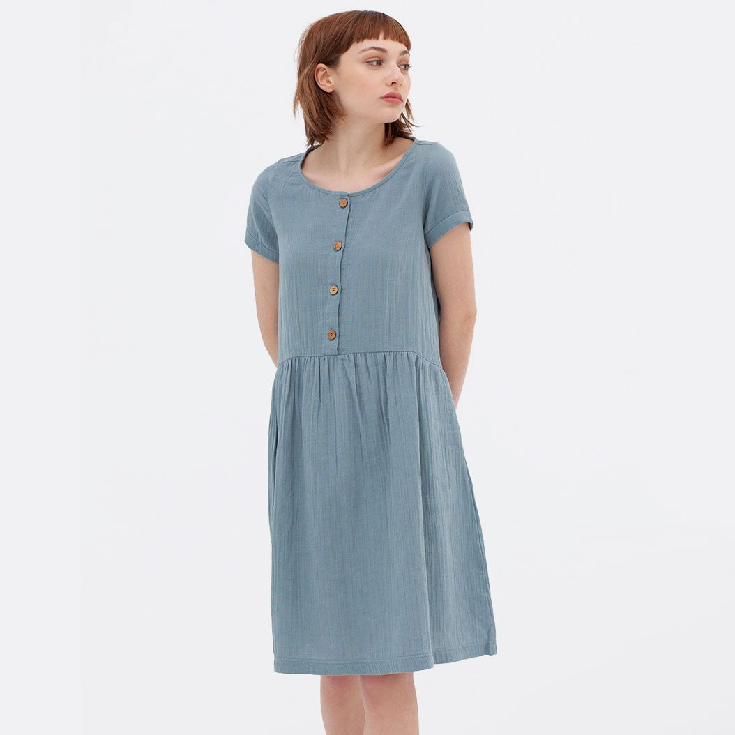 Vestido manga corta oversize de algodón orgánico color azul