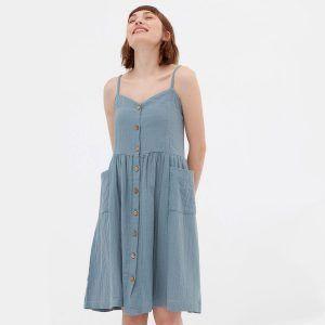 Vestido midi azul de algodón orgánico con tirantes