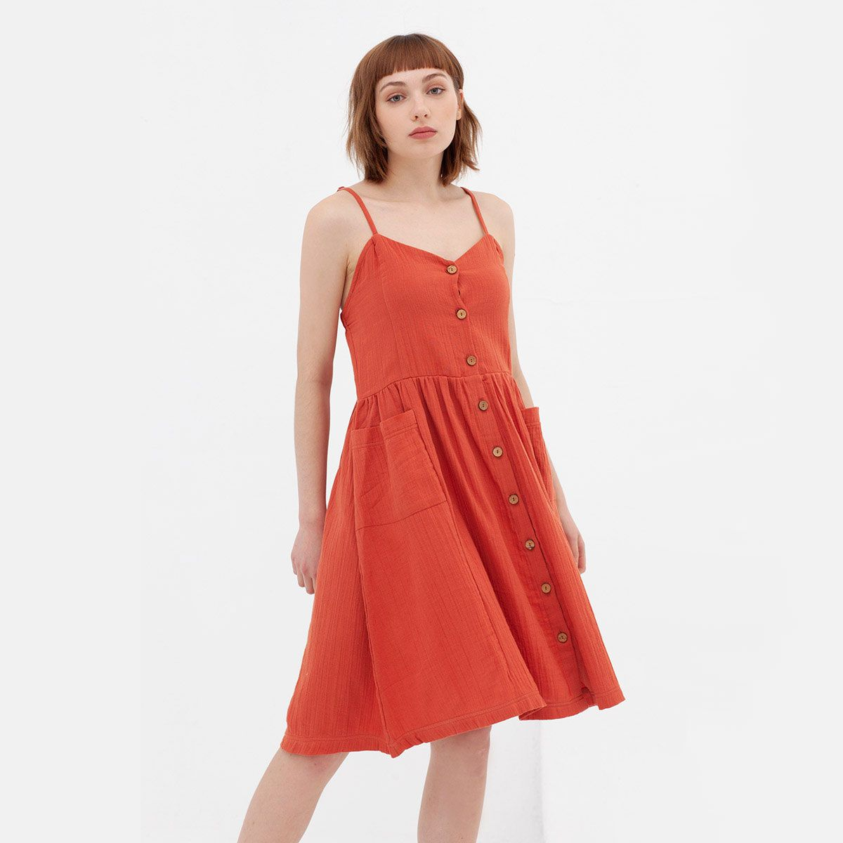 Vestido midi con tirantes de algodón orgánico teja