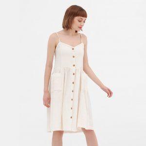 Vestido midi crudo con tirantes de algodón orgánico