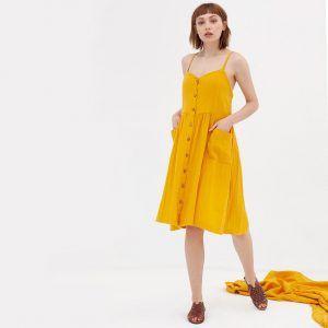 Vestido mostaza con tirantes de algodón orgánico