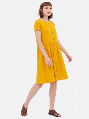 Vestido mostaza manga corta de algodón orgánico