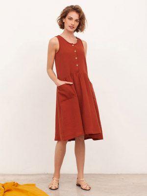 Vestido oversize algodón orgánico color teja mujer