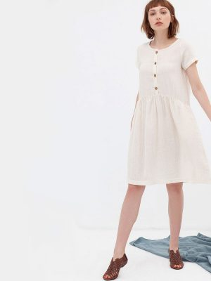 Vestido oversize crudo de algodón orgánico botones