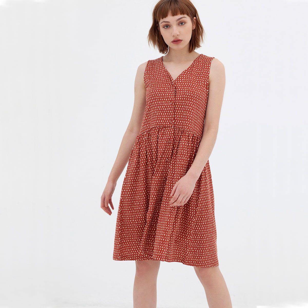 Vestido oversize de algodón orgánico color teja