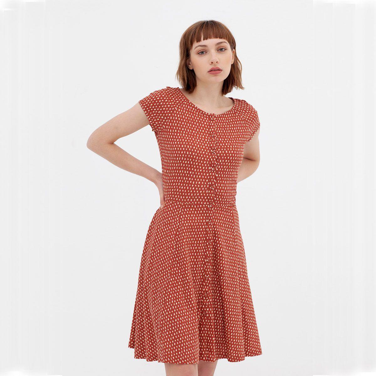 Vestido retro entallado de algodón orgánico color teja
