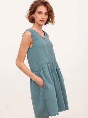 Vestido reversible azul algodón orgánico bolsillos
