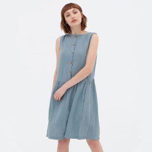 Vestido reversible azul de algodón orgánico