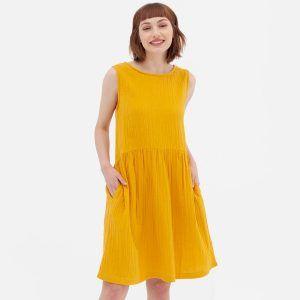 Vestido reversible de algodón orgánico color mostaza