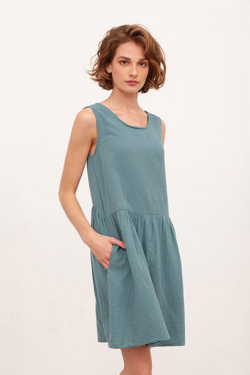Vestido reversible muselina azul tiralahilacha