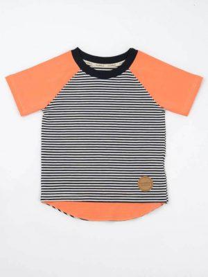Camiseta de rayas para niños mangas papaya