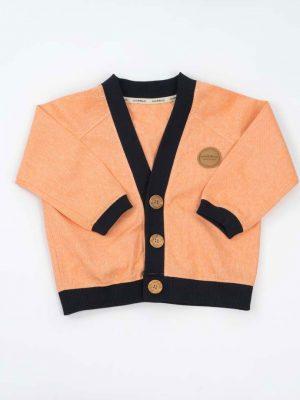 Cardigan para niños de algodón reciclado mandarina