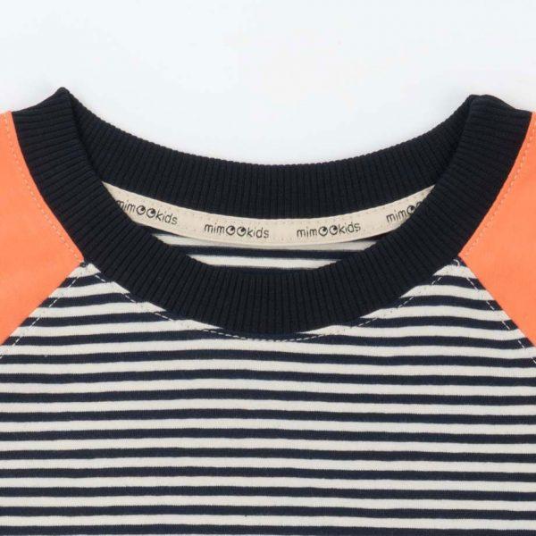 Cuello elástico camiseta infantil rayas papaya