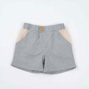 Pantalones cortos para niños de algodón reciclado con botón color azul