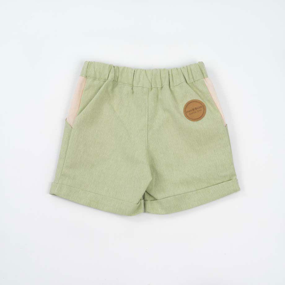 Pantalones cortos para niños de algodón reciclado trasero color pistacho