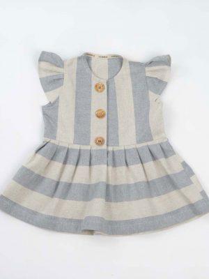 Vestido niña rayas azul y blanco