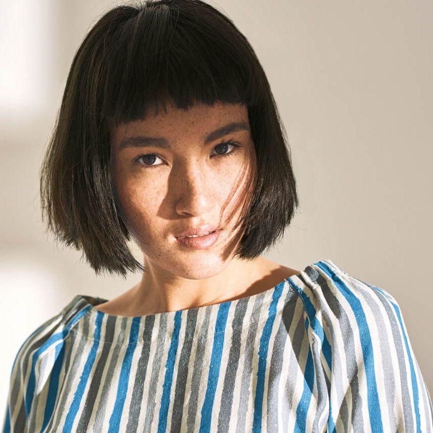 Blusa de rayas verticales mujer