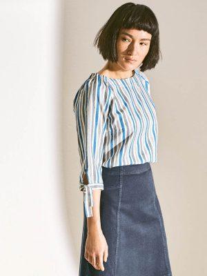 Blusa media manga mujer a rayas