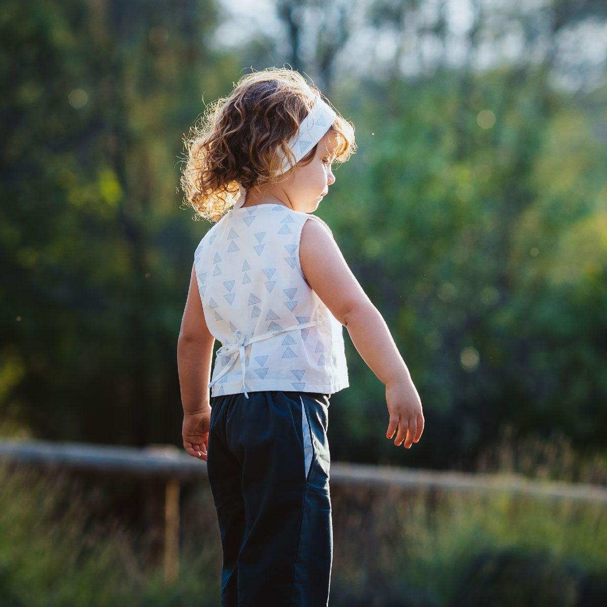 Blusa niña con lazo de algodón orgánico