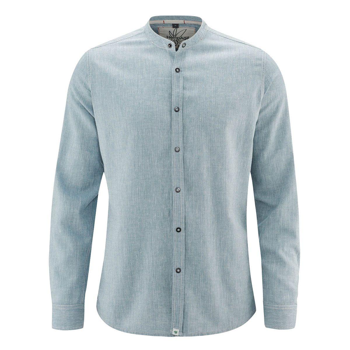 Camisa manga larga cuello mao denim