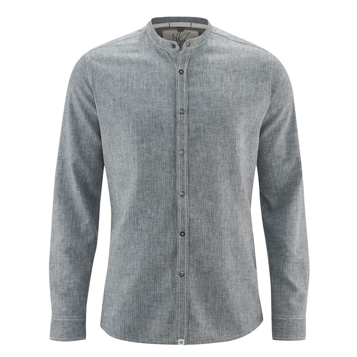Camisa manga larga cuello mao gris