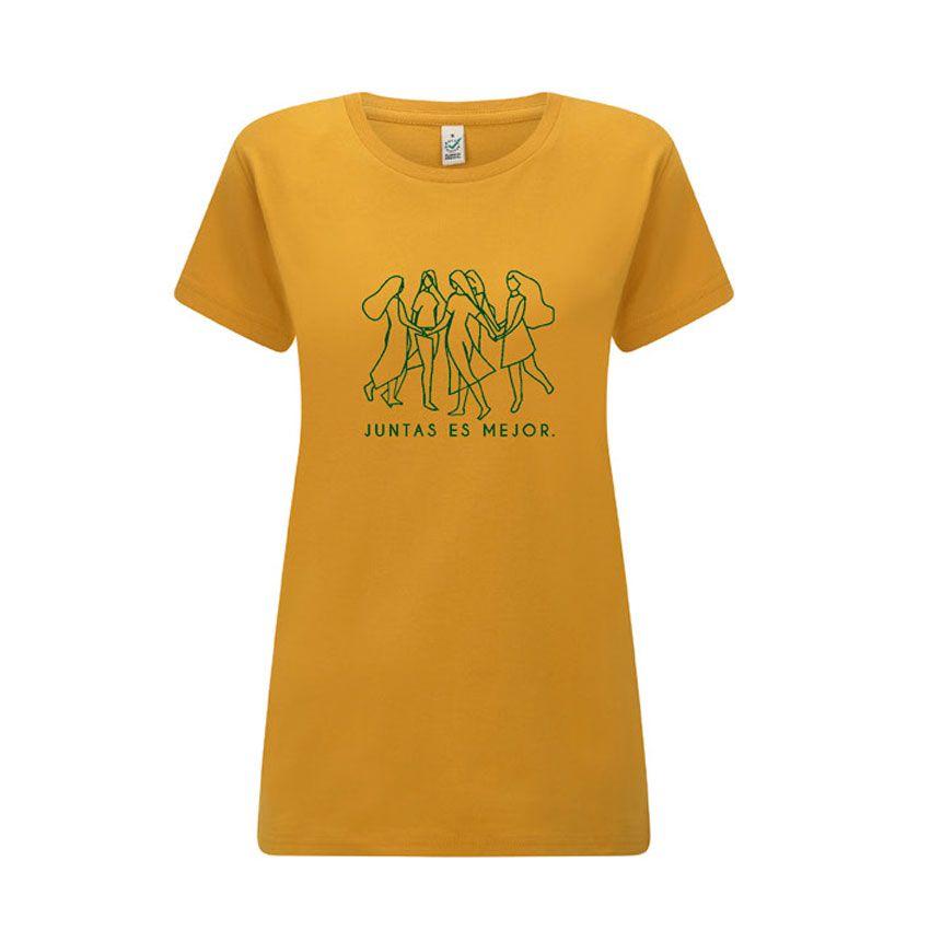 Camiseta feminista mostaza de algodón orgánico