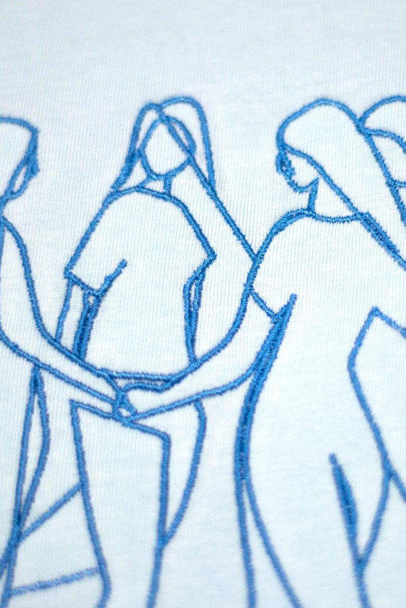 Diseño camiseta algodón orgánico azul mujeres