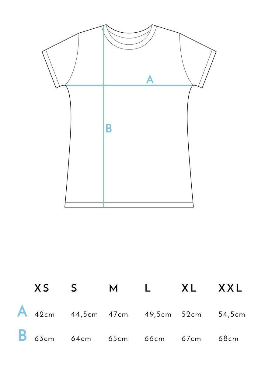 Medidas camiseta feminista azul de algodón orgánico