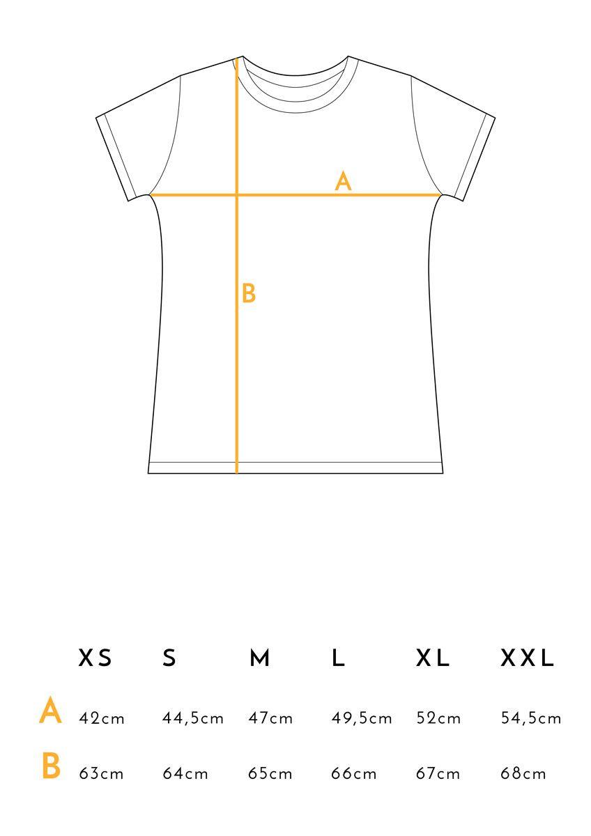 Medidas camiseta feminista mostaza de algodón orgánico