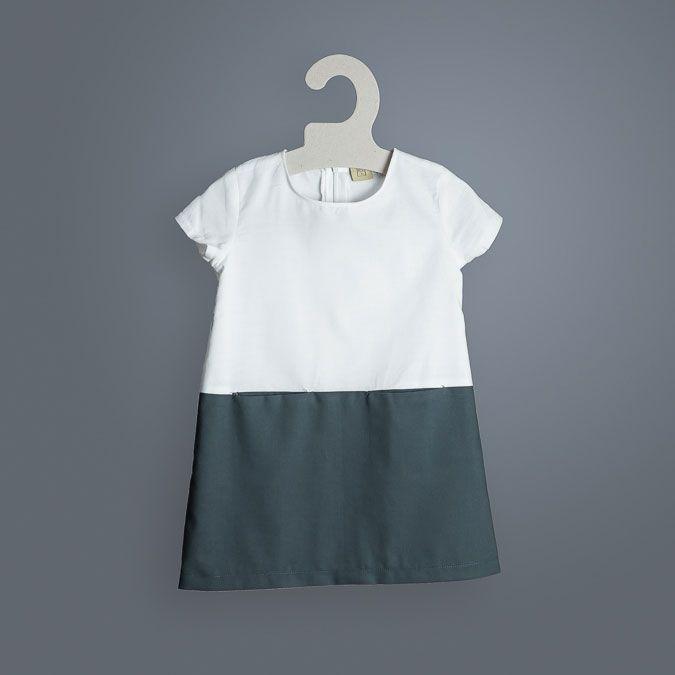 Vestido infantil bicolor algodón orgánico pizarra