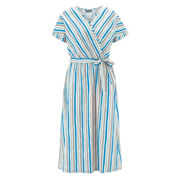 Vestido largo de rayas con cinturón azul