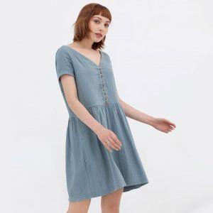 Vestido manga corta oversize de algodón orgánico azul vintage
