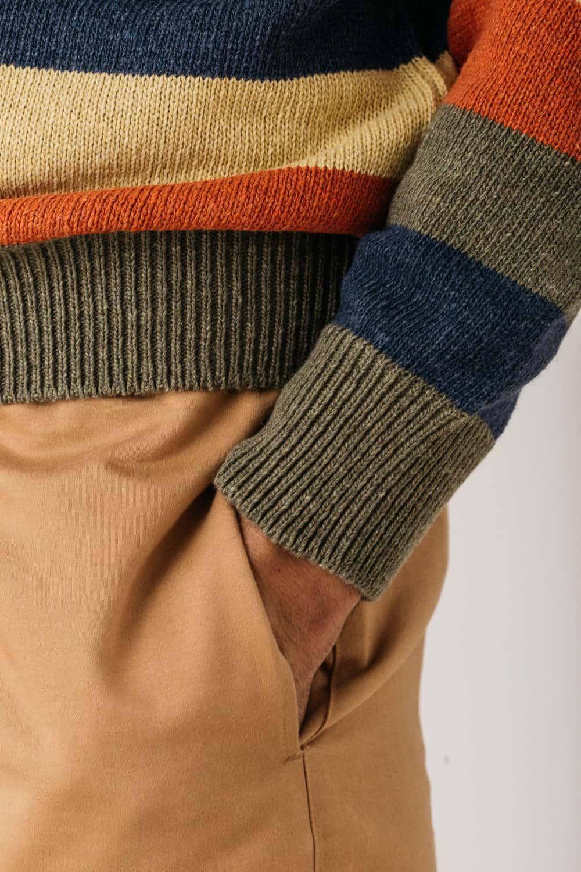 Detalle bolsillo jersey rayas hombre