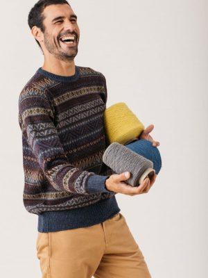 Jersey Jacquard hombre de lana reciclada