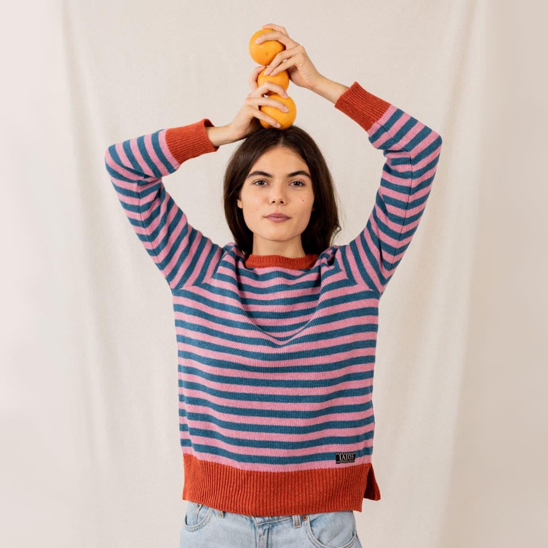 Jersey rayas mujer naranja 100% reciclado