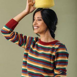 Jersey rayas multicolor mujer de lana reciclada
