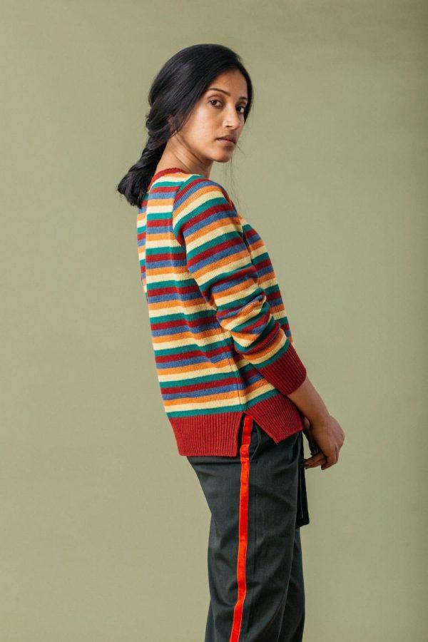 Jersey sostenible mujer rayas multicolor