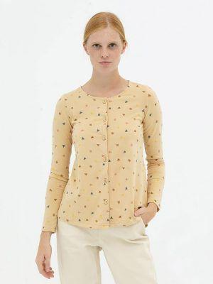 Blusa manga larga beige algodón orgánico