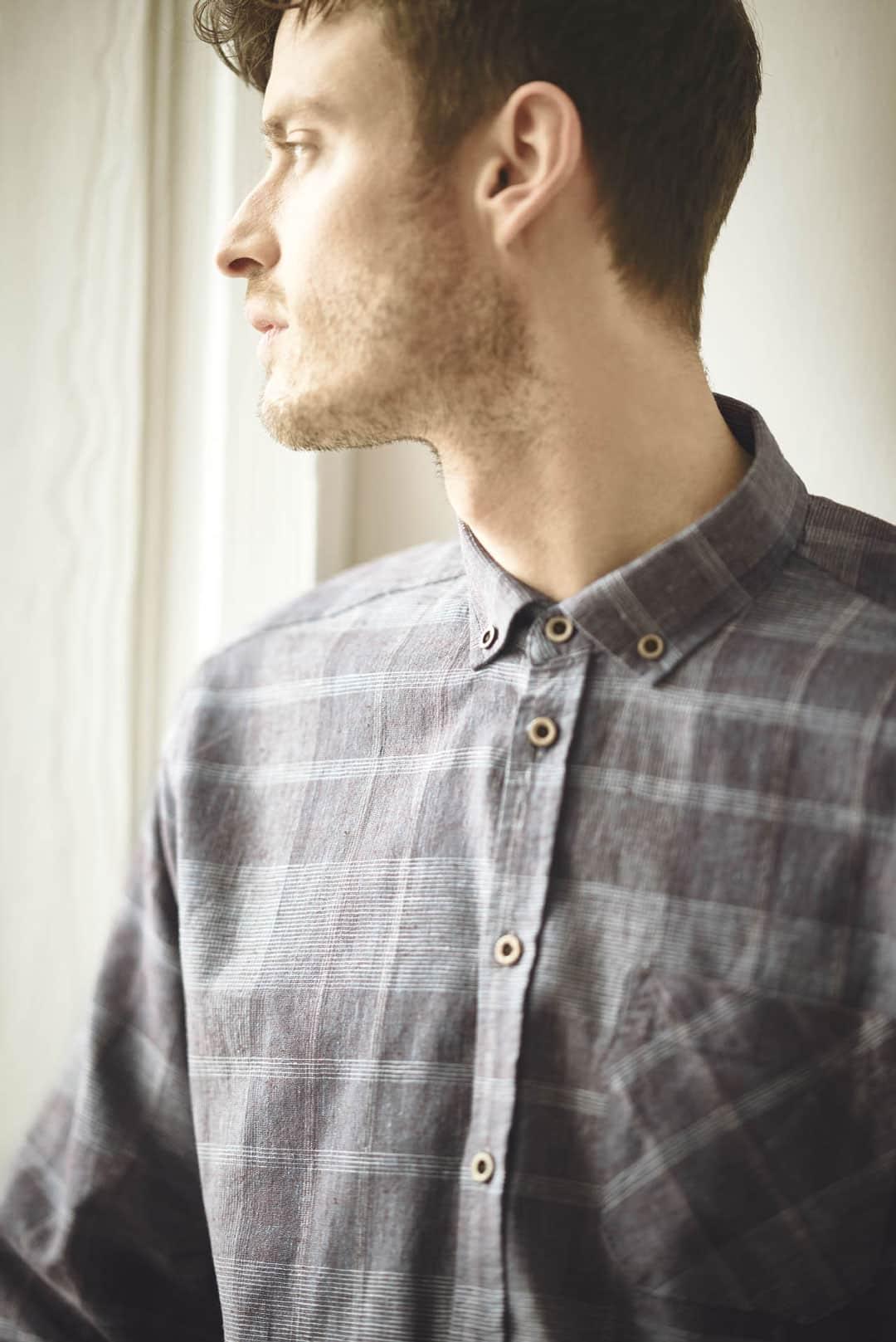 Camisa hombre a cuadros manga larga
