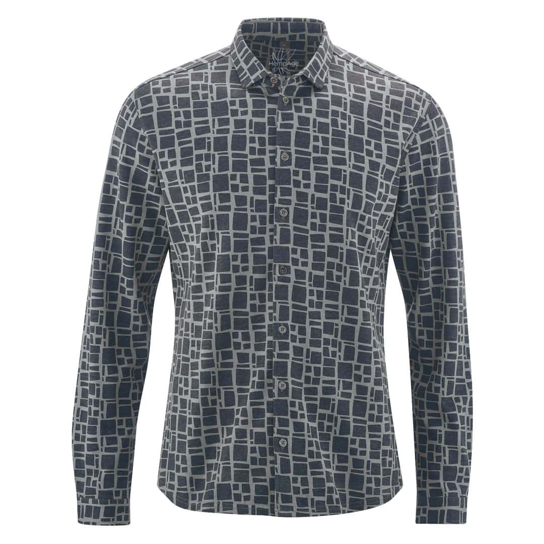 Camisa hombre estampada gris