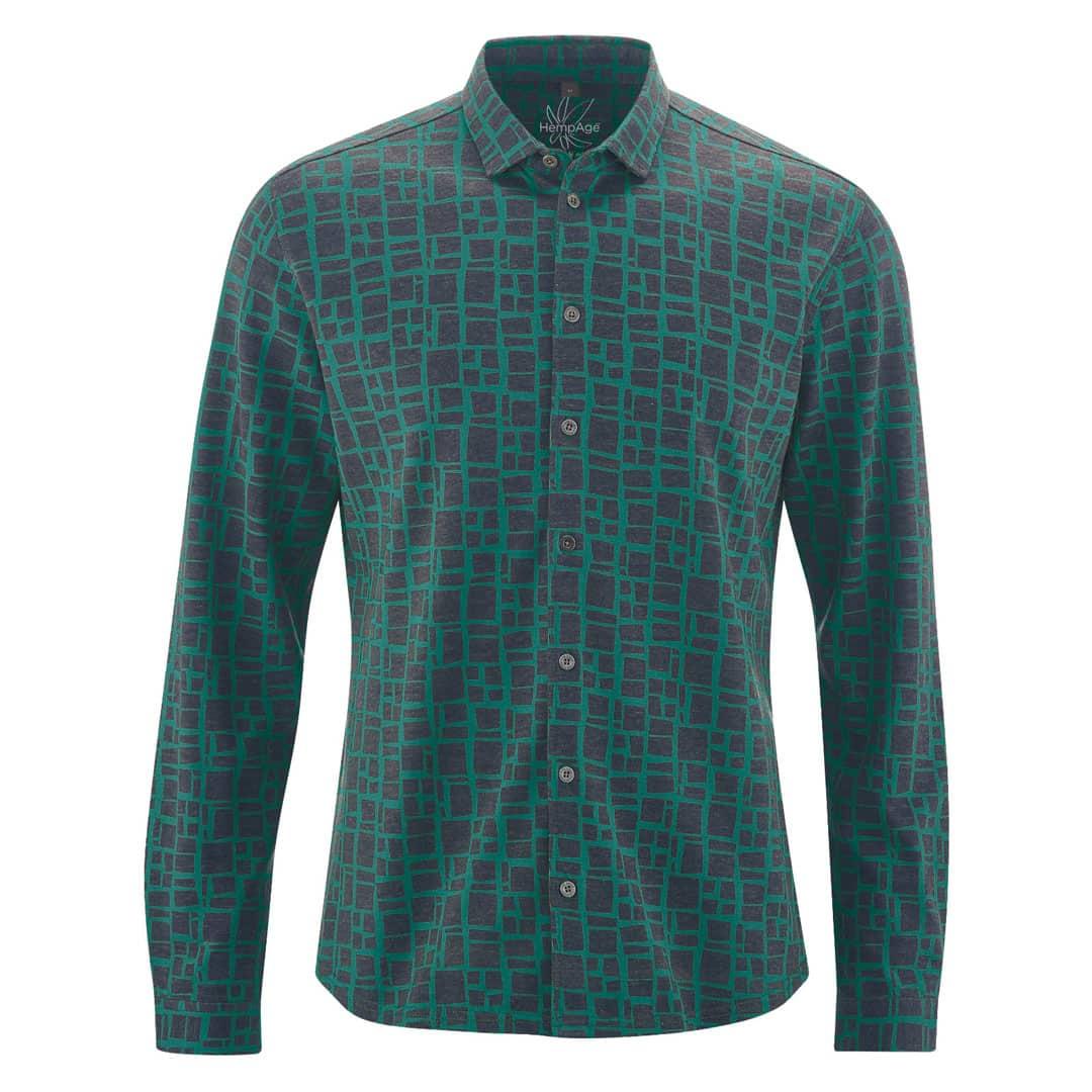Camisa hombre estampada verde