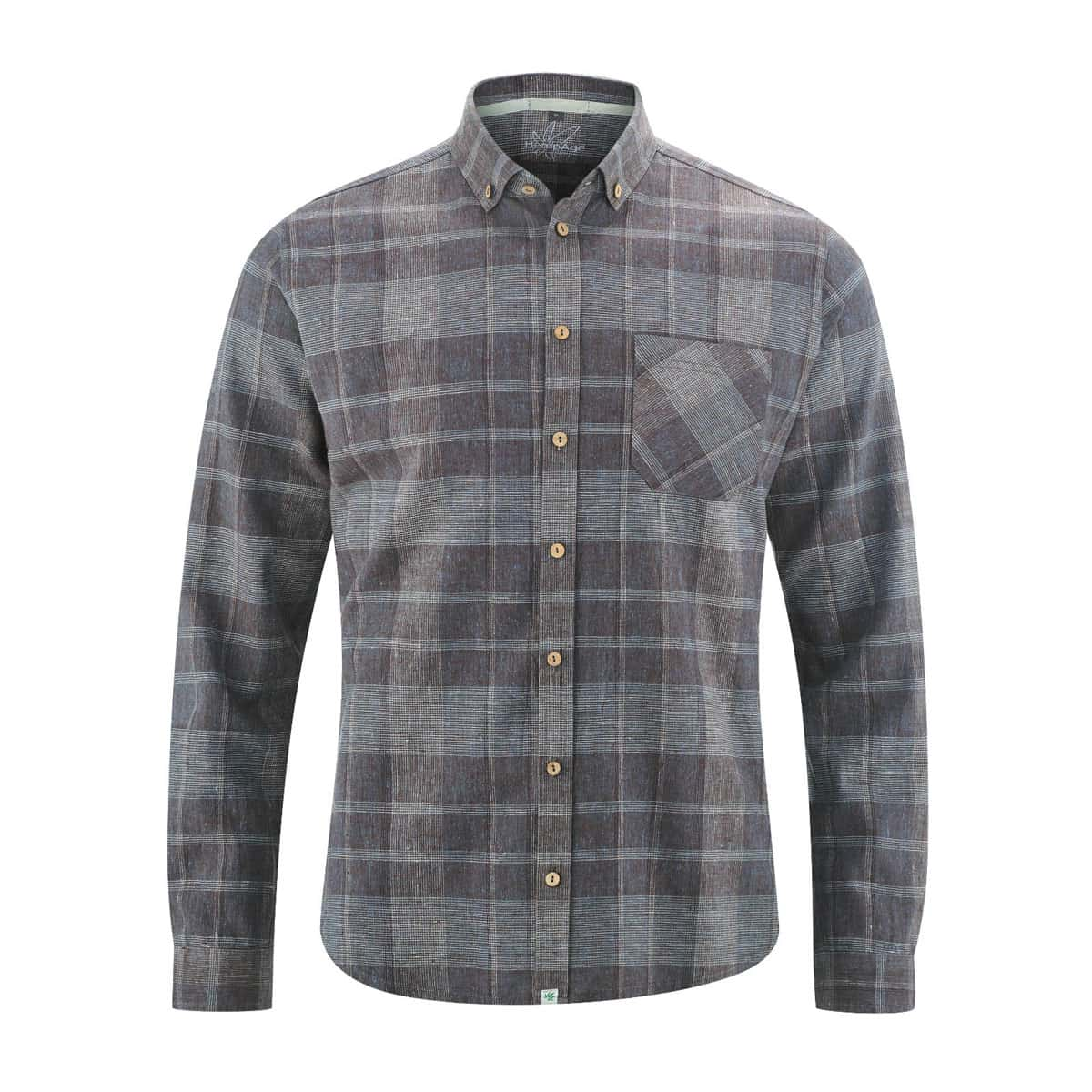 Camisa manga larga hombre a cuadros gris