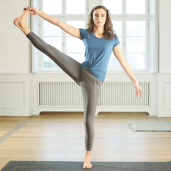Camiseta mallas yoga algodón orgánico cáñamo