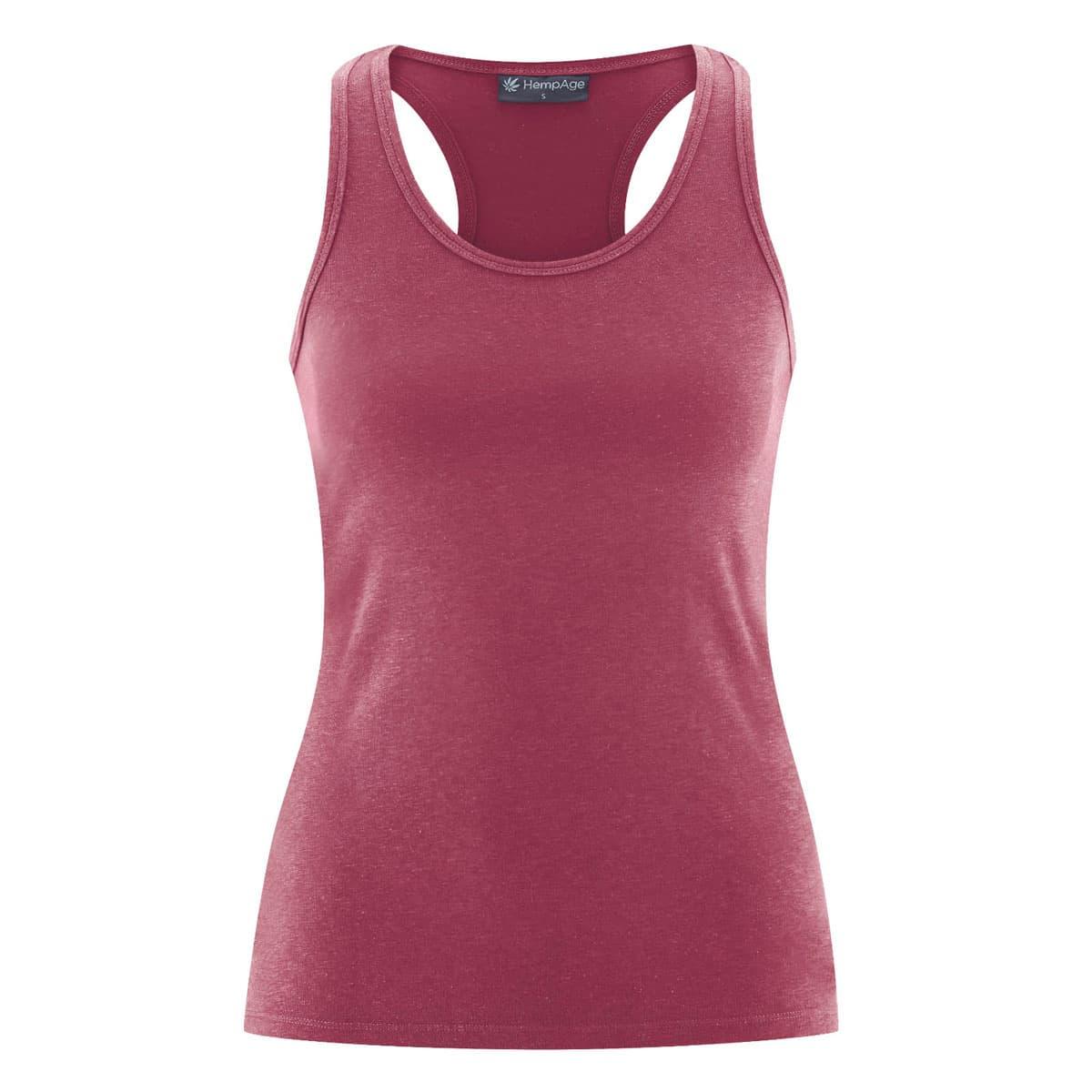 Camiseta yoga con tirantes burdeos frente