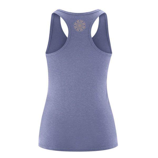 Camiseta yoga con tirantes lavanda espalda