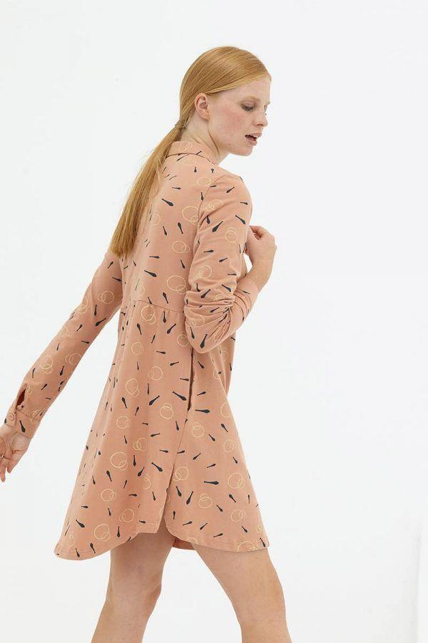 Espalda vestido evasé camisero rosa de algodón orgánico