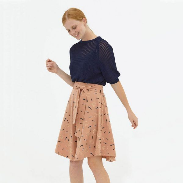 Falda media capa rosa palo algodón orgánico