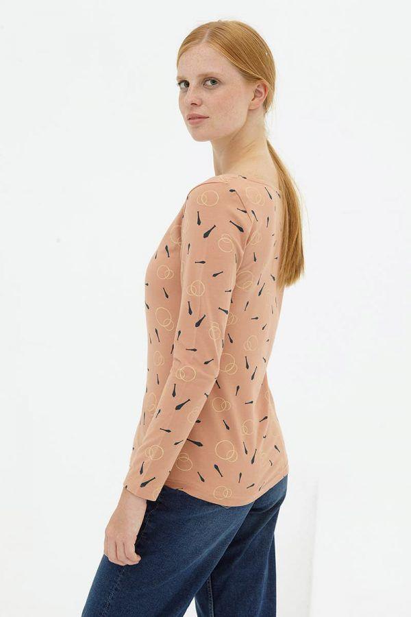 Lateral camiseta básica rosa pastel algodón orgánico