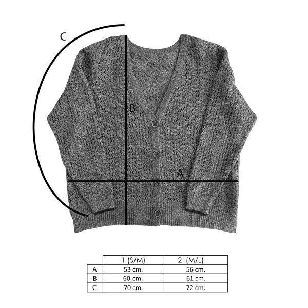 Medidas chaqueta reversible gris de lana